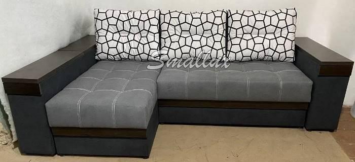 Угловой диван - кровать Гранд (бар, ниши, полочки)